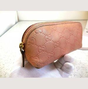 💯Auth Gucci leather guccisimma small pouch, Rare